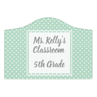 Mint Polka Dot Adhesive Door Sign