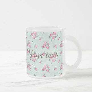 mint,polka dot,roses,shabby chic,pattern,girly,tre frosted glass mug