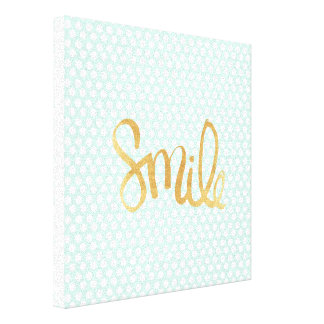 Mint polka dot,white,gold,smile,trendy,chic stretched canvas prints