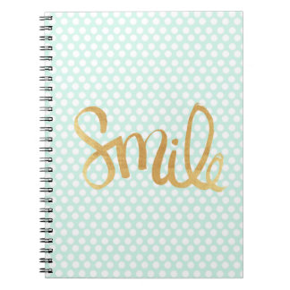 Mint polka dot,white,gold,smile,trendy,chic spiral note book