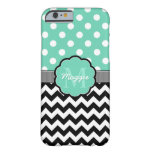 Mint Polka Dots Black Chevron Monogram Barely There iPhone 6 Case