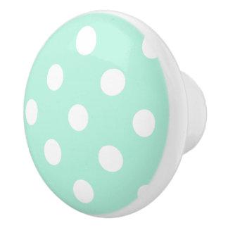 Mint polka dots knob/drawer pull