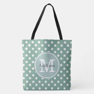 Mint Polka Dots, Monogram & Personalized Name Tote Bag
