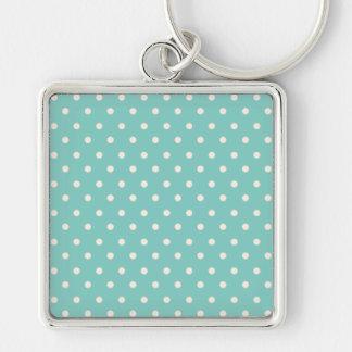 Mint Polkadots Silver-Colored Square Key Ring