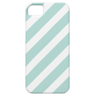 Mint Preppy Nautical Diagonal Stripes iPhone 5 Cover