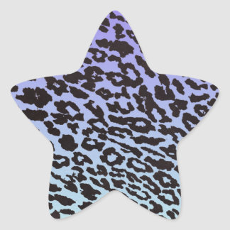 mint & purple fade leopard star sticker