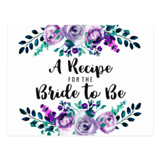 Mint & Purple Floral Bridal Shower Recipe Card
