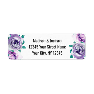 Mint & Purple Floral Rose Wedding Return Address Return Address Label