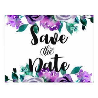 Mint & Purple Floral Rose Wedding Save the Date Postcard