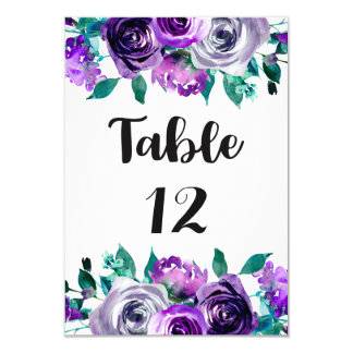 Mint & Purple Floral Rose Wedding Table Numbers Card