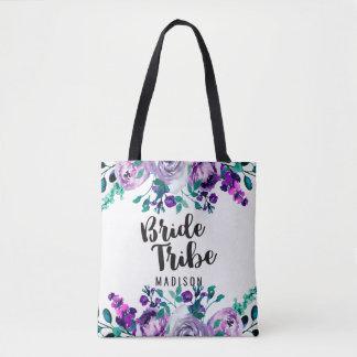 Mint & Purple Floral Watercolor Bride Tribe Tote Bag