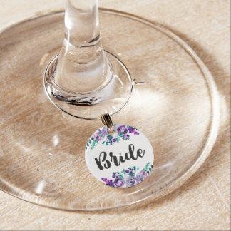 Mint & Purple Floral Watercolor Wedding Bride Wine Glass Charms
