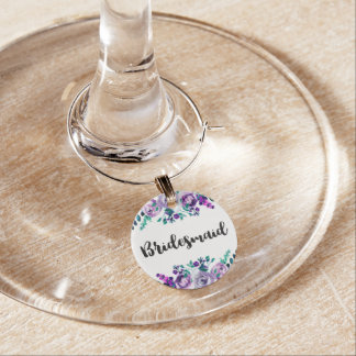 Mint & Purple Floral Watercolor Wedding Bridesmaid Wine Charm