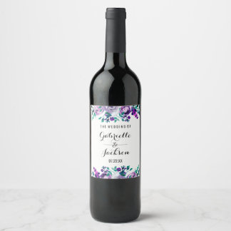 Mint & Purple Floral Watercolor Wedding Monogram Wine Label
