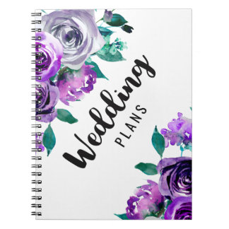 Mint & Purple Floral Watercolor Wedding Planner Notebooks