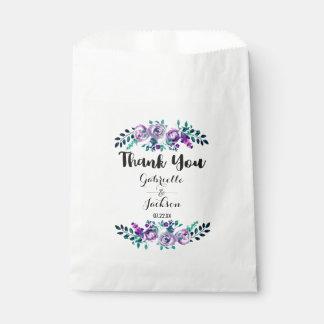 Mint & Purple Floral Watercolor Wedding Thank You Favour Bag