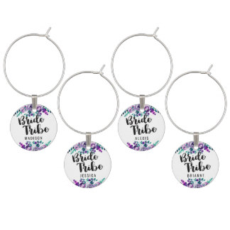 Mint & Purple Floral Wedding Bride Tribe Wine Charms