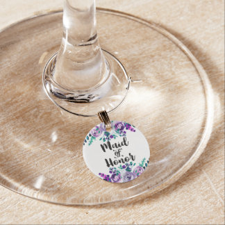 Mint & Purple Floral Wedding Maid of Honor Wine Charm