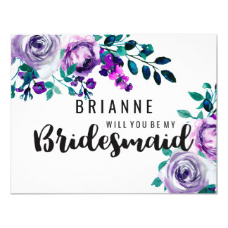 Mint & Purple Floral Will You Be My Bridesmaid Card