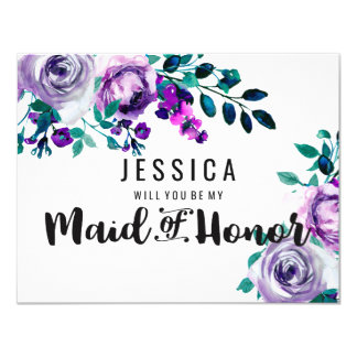 Mint & Purple Floral Will You Be My Maid of Honor Card