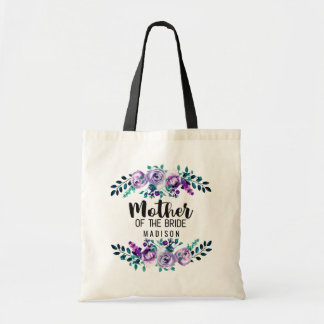 Mint & Purple Floral Wreath Mother of the Bride Tote Bag