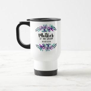 Mint & Purple Floral Wreath Mother of the Groom Travel Mug
