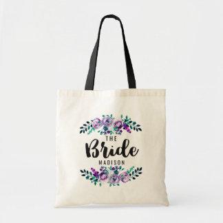 Mint & Purple Floral Wreath Wedding Bride Tote Bag