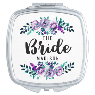 Mint & Purple Floral Wreath Wedding Bride Travel Mirror