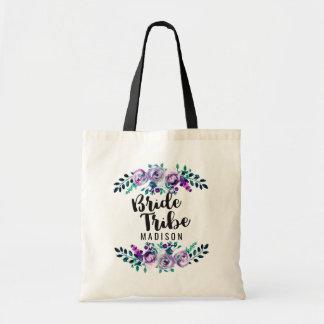 Mint & Purple Floral Wreath Wedding Bride Tribe Tote Bag