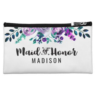 Mint & Purple Floral Wreath Wedding Maid of Honor Cosmetic Bag