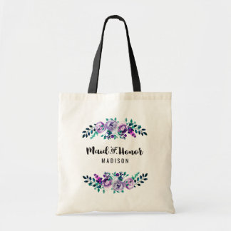 Mint & Purple Floral Wreath Wedding Maid of Honor Tote Bag
