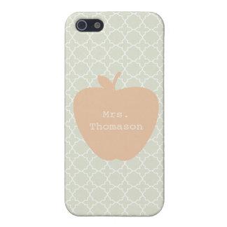 Mint Quatrefoil & Peach Apple Teacher iPhone 5 Covers