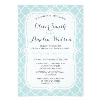 Mint Quatrefoil Wedding Invitation