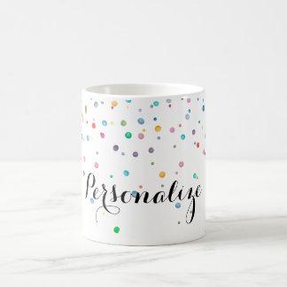 Mint Rainbow Confetti Dots Basic White Mug