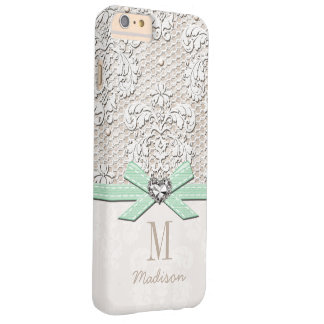 Mint Rhinestone Look Printed Lace and Bow Heart Barely There iPhone 6 Plus Case
