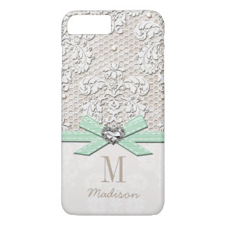 Mint Rhinestone Look Printed Lace and Bow Heart iPhone 8 Plus/7 Plus Case