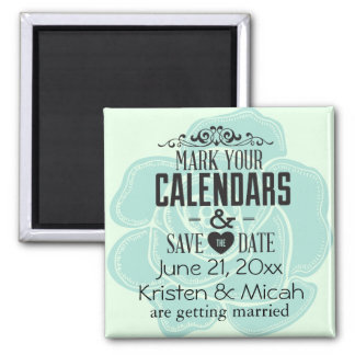 Mint Rose Save the Date Magnets