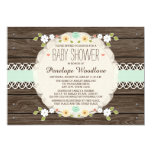 MINT RUSTIC FLORAL BOHO BABY SHOWER INVITATIONS 13 CM X 18 CM INVITATION CARD