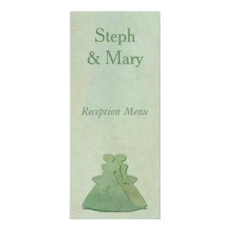 Mint Rustic Lesbian Bride Wedding Reception Menu 10 Cm X 24 Cm Invitation Card