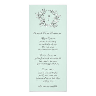 "Mint Rustic Monogram Wreath Weddin Reception Menu 4"" X 9.25"" Invitation Card"