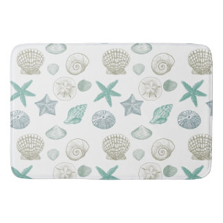 Mint Sand Blue Shells Bath Mat