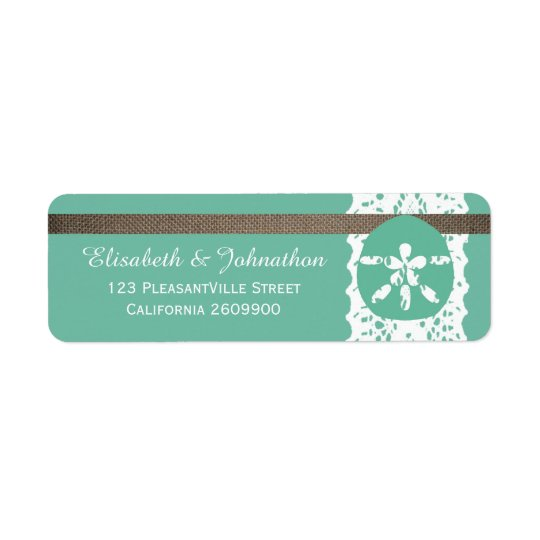 Mint Sand Dollar And Burlap Lace Wedding Return Address Label