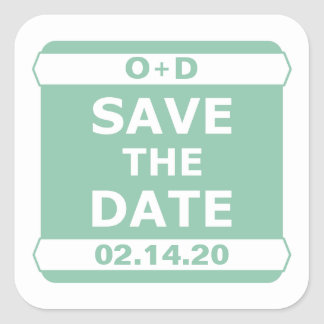 Mint Save the Date Sticker