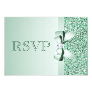 Mint Sequins, Bow & Diamond RSVP Wedding 9 Cm X 13 Cm Invitation Card