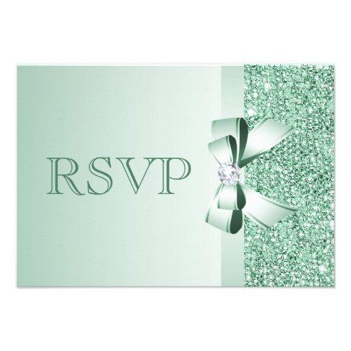 Mint Sequins, Bow & Diamond RSVP Wedding Personalized Invites
