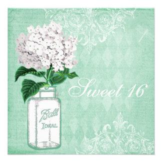 Mint Shabby Chic Mason Jar & Hydrangea Sweet 16 Custom Invitation
