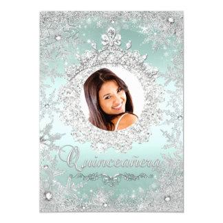 "Mint Silver Tiara Snowflake Sparkle Quinceanera 5"" X 7"" Invitation Card"