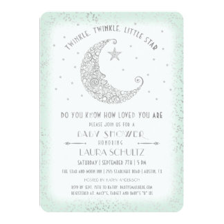 Mint Silver Twinkle Little Star Baby Shower Card