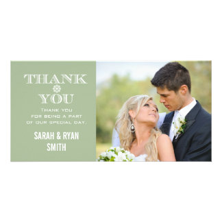 Mint Snowflake Wedding Photo Thank You Cards Custom Photo Card