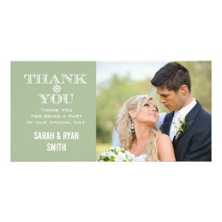 Mint Snowflake Wedding Photo Thank You Cards Custom Photo Card